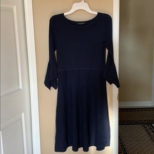 Navy Dress with Flounce Sleeves